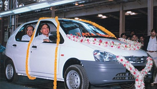 1998 - Ratan Tata drives the first Tata Indica off the assembly line.